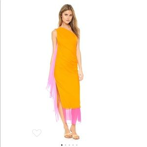 Pink and Orange DVF silk dress New, Never Worn